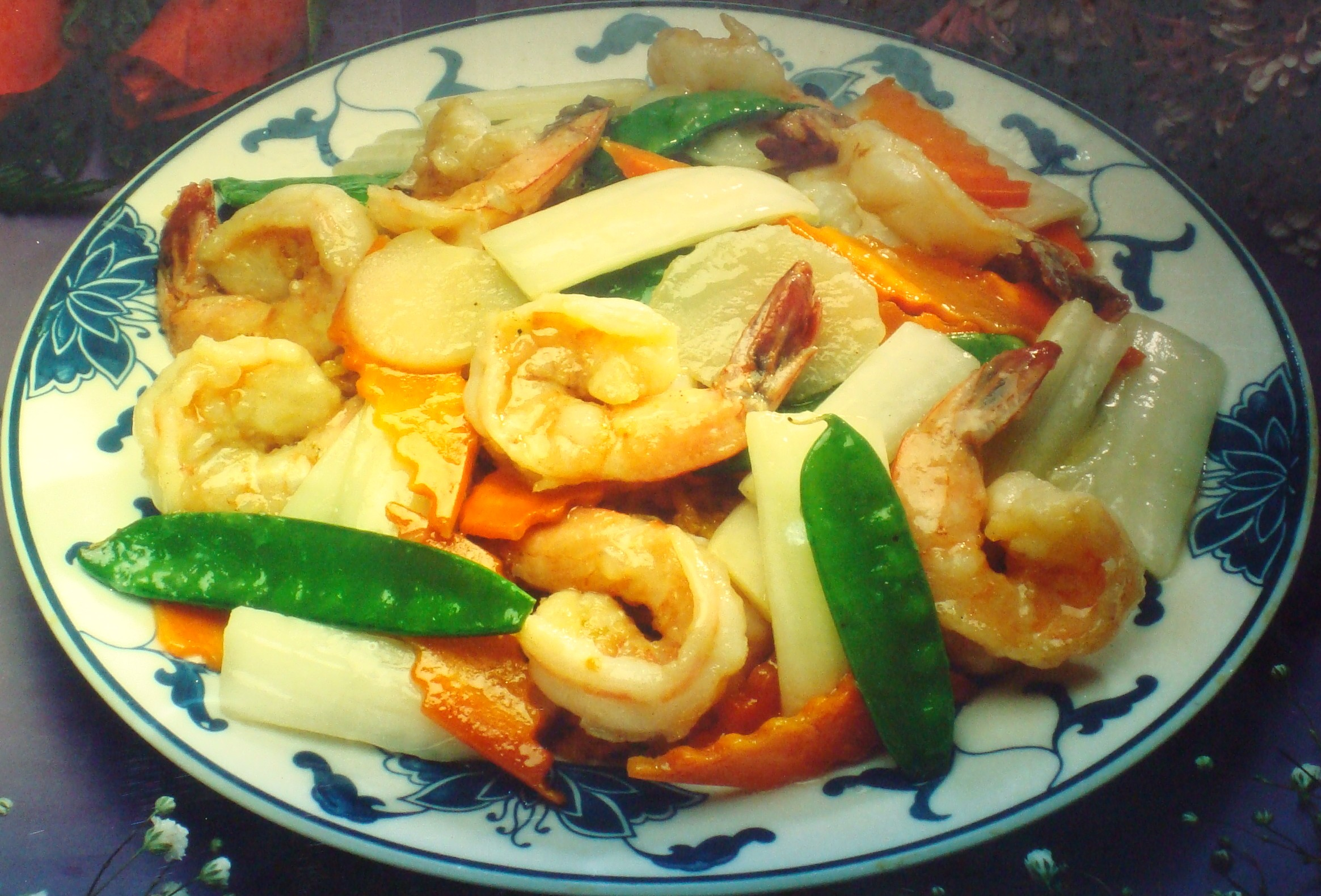 Barbecued Shrimp and Mixed Vegetables with Lemon Zest ... |Shrimp With Mixed Vegetables